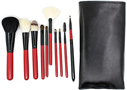 Lefu Pinceles Maquillaje Set 10PCS Lana Pony Cepillo De Pelo Maquillaje Estuche Profesional Makeup: Amazon.es: Belleza