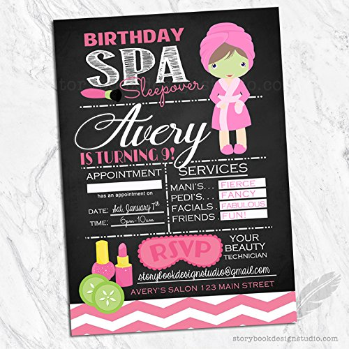 Spa Birthday Invitations (Set of 10) Envelopes Included Personalized by Storybook Design Studio (Image #1)