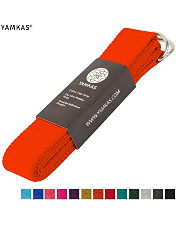 Yamkas Correa para Yoga Yoga Belt cinturón 100% de algodón con Esquinas de  Metal Anillo 88a10a141706