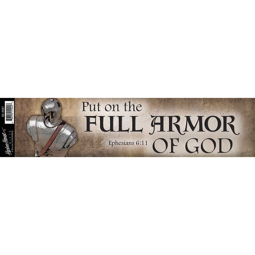 Put on Full Armor of God 13 x 3 Inch Mylar Adhesive Car Bumper Stickers Set of 6