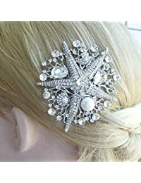 Sindary Wedding Headpiece Silver-tone Pearl Rhinestone Crystal Starfish Hair Comb