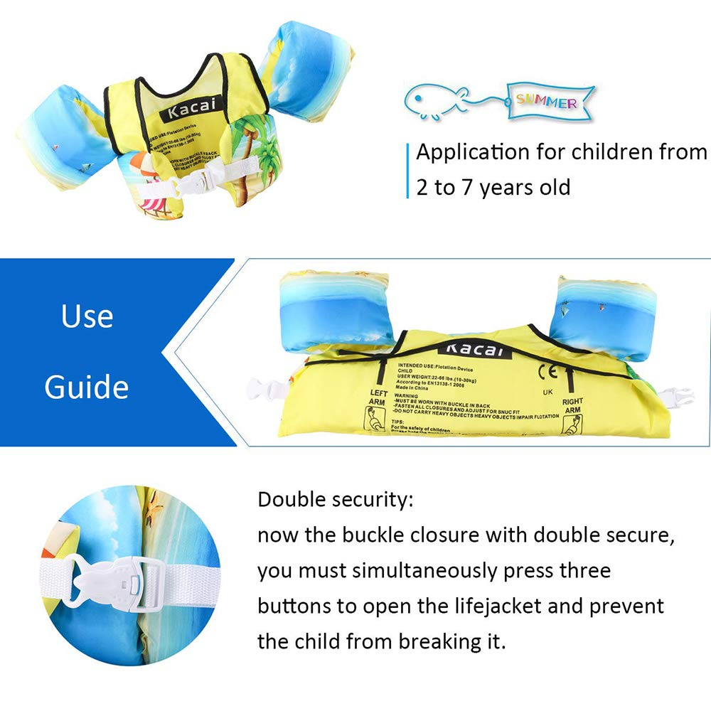 Arm Bands Baby Toddler Swim Training Aids for Learning to Swim for 3-8 year old 10-30kg Swimming Float Vest for Kids