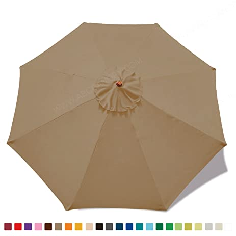 ?23+ colors?9ft Market Umbrella Replacement Canopy 8 Ribs (khaki)  sc 1 st  Amazon.com : umbrella replacement canopy 8 ribs - memphite.com