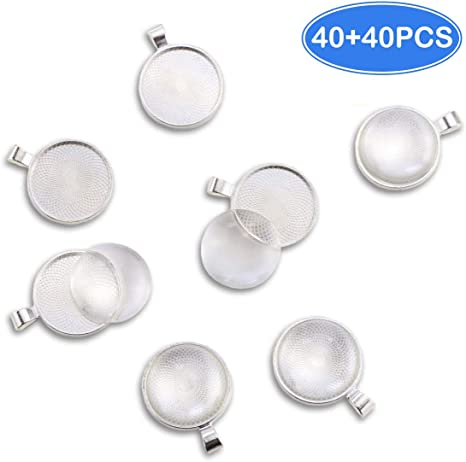 300 piece Silver Heart Tray Cabochon Jewelry Crafts 25mm