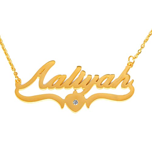 66159be69ceaf Amazon.com: Kigu Aaliyah - Personalized Custom Name Necklace -18ct ...