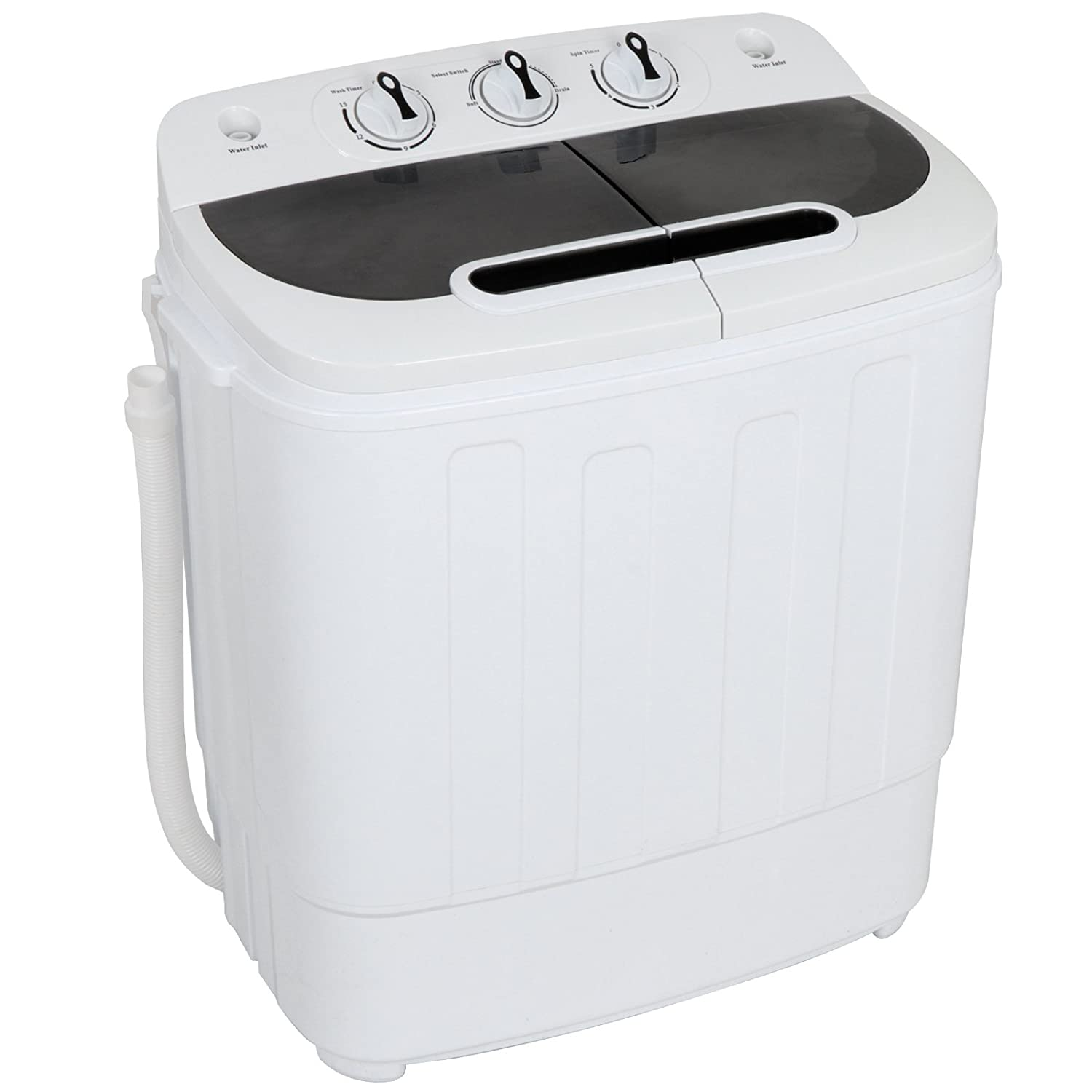 ZENSTYLE Compact Mini Twin Tub 17.6 LB Top Load Washing Machine w/Washer Spinner, Built-in Gravity Pump, 5.74 FT Power Cord and 6.57 FT Inlet Pipe Included