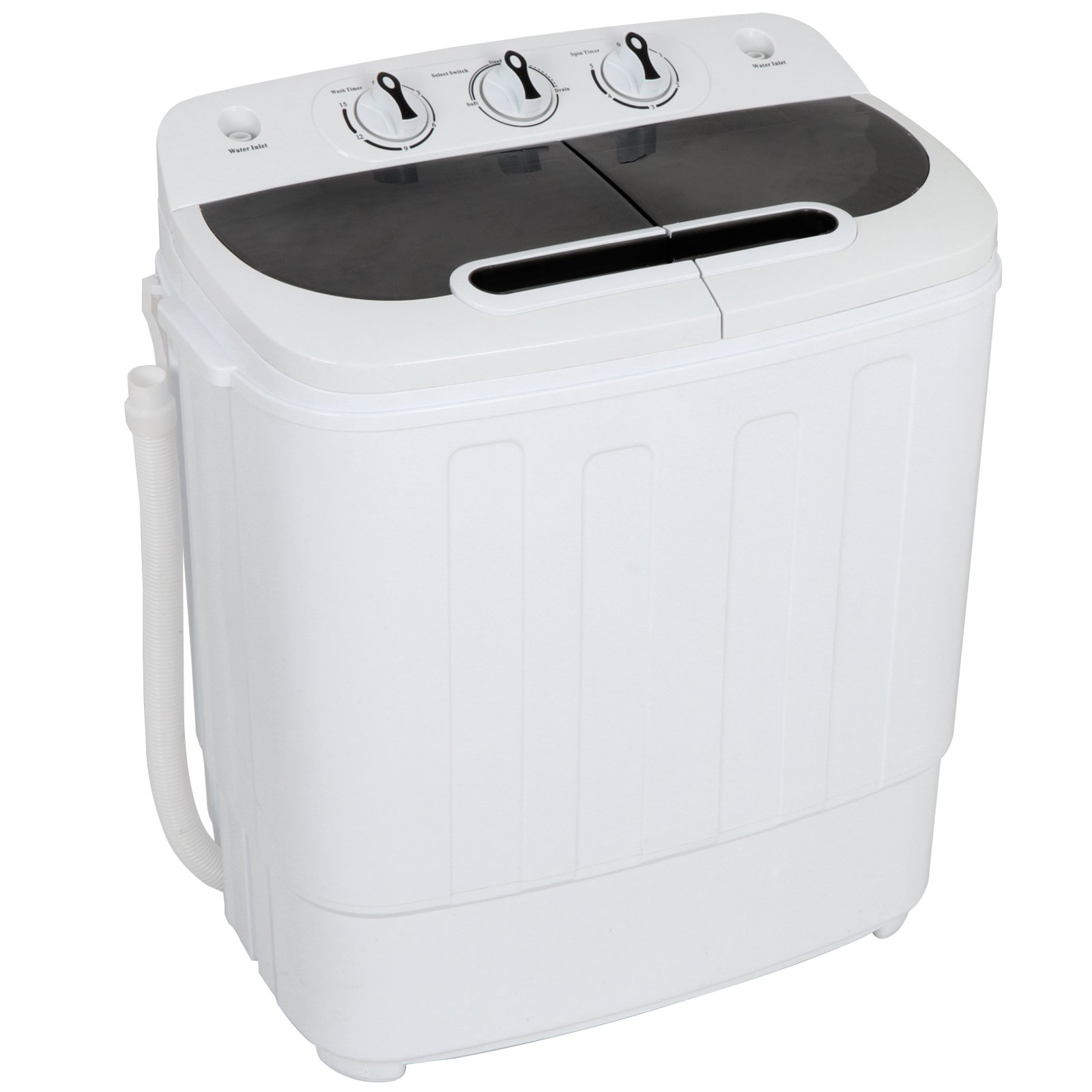 ZENSTYLE Compact Mini Twin Tub Top Load Washing Machine w/Washer Spinner, Built-In Gravity Pump, 13lbs Capacity, 5.74 FT Power Cord Included