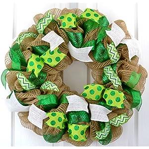St. Patrick's Day Mesh Door Wreath | Saint Patricks Day Wreath | St Pattys Day Wreath | Green Burlap Jute 88