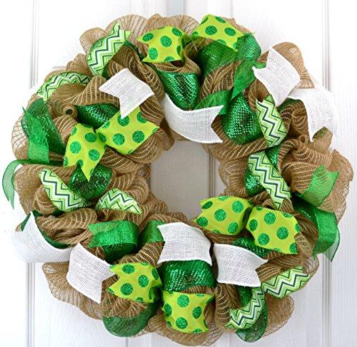 St. Patrick's Day Mesh Door Wreath | Saint Patricks Day Wreath | St Pattys Day Wreath | Green Burlap Jute