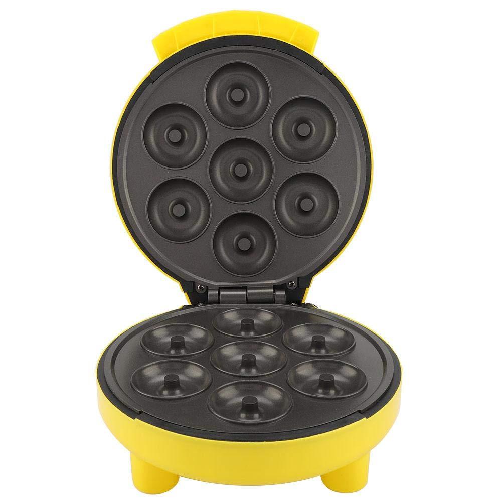 7 Mini Electric Doughnut Maker,Nonstick Small Donut Snack Machine, Yellow DIY Breakfast US Plug 110V by Yosooo