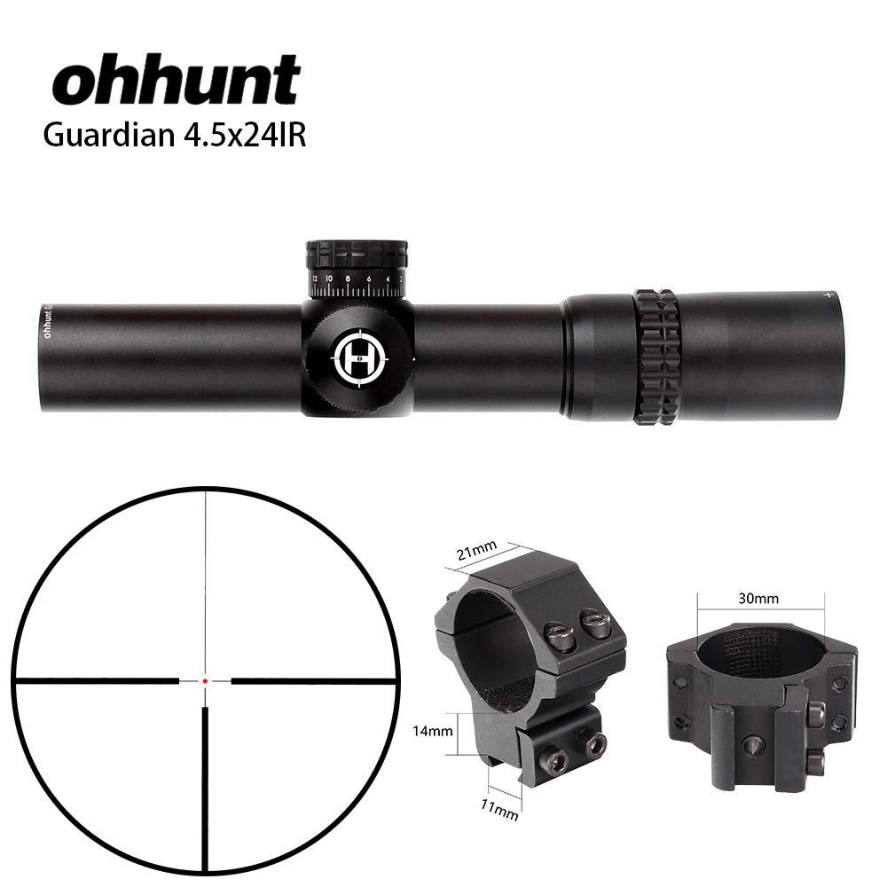 Ohhunt ガーディアン 4.5 x24IR コンパクトスコープガラスエッチングレチクルタレットロックリセットライフルスコープ B07PTQN861 withDovetailRings1