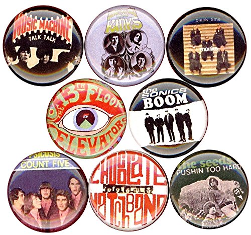 60's garage rock set of 8 NEW 1 inch pins buttons badge punk kinks monks (Halloween Power Hour Playlist)