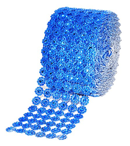 Mandala Crafts Faux Diamond Bling Wrap, Faux Rhinestone Crystal Mesh Ribbon Roll for Wedding, Party, Centerpiece, Cake, Vase Sparkling Decoration (Flower Pattern 4 Inches 10 Yards, Blue)]()