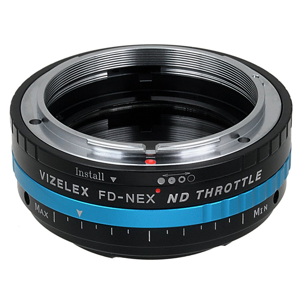 Vizelex ND Throttle Fotodiox Pro Lens Adapter, Canon FD Lens to Sony E-Mount Camera w/Built-In Variable ND Filter ND2-ND1000