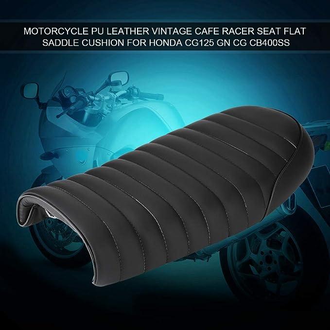 Semoic Vintage Hump Saddle Motorcycle Seat Retro Scramble Cafe Racer Seat Flat For Gn Cb350 Cb400 Cb500 Cb750 Sr400 Xj Xs Black