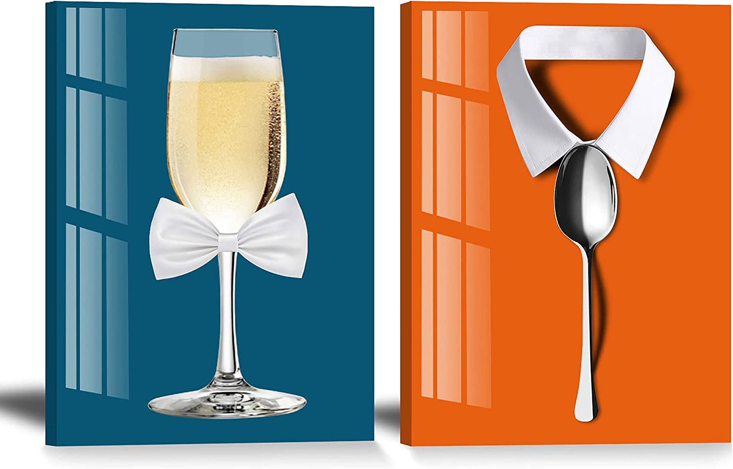 Cyan and Orange Canvas Dining Room Wall Decor 12x16inch 2 Panels Beer in Goblet with Bow Tie Wall Art and White Collar Shirt with Spoon as Buttons Kitchen Wall Pictures Modern Theme Prints Painting