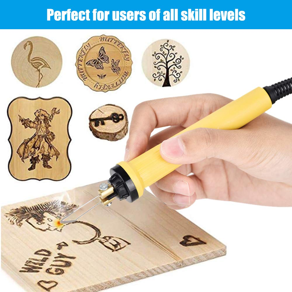 TOPQSC Wood Burning Kit 60W Digital Display Pyrography Machine Professional Wood Burning Tool Digital Adjustable Temperature Control Gourd Wood Crafts Pyrography Kit for Engraving and Crafts