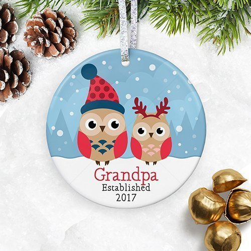 Personalized Grandpa Est. 2018 Christmas Ornament, Grandfather with Baby Boy or Girl, Custom Year, Baby Shower Keepsake for Pop - 3