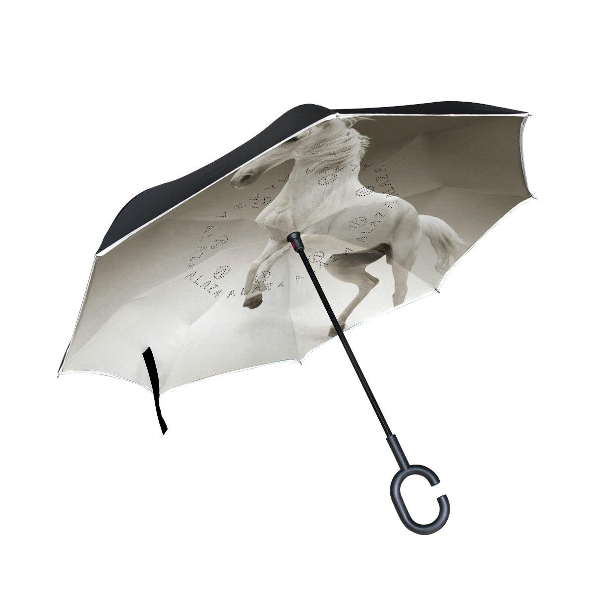 Bennigiry Envers Parapluie 10+ inversé Parapluie double couche Leap Licorne Parapluie coupe-vent protection UV avec poignée en forme de C
