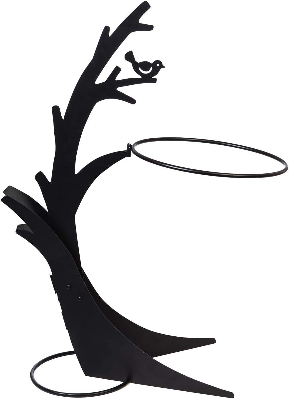 Evergreen Garden Sturdy Black Metal Tree Shaped Birdbath Stand - 18 x 13 x 36 Inches