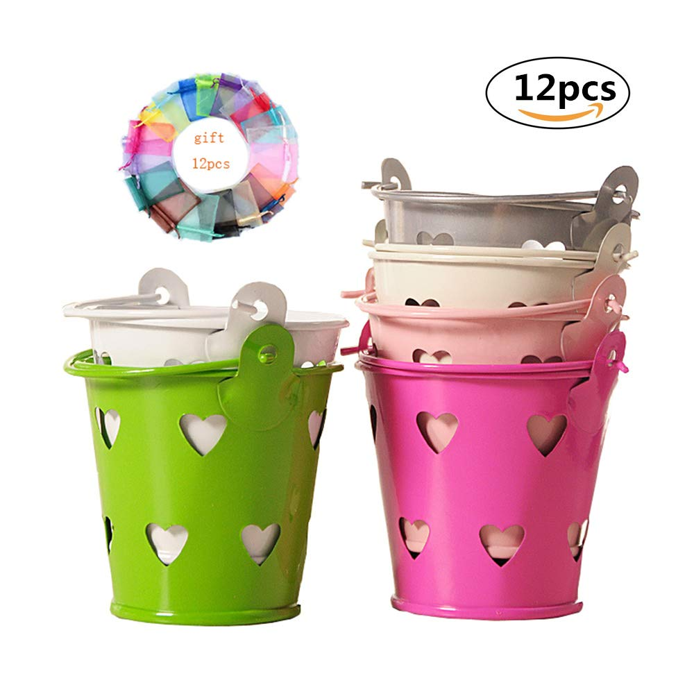Condiment packet Holder chip Bucket Yuecute mini secchiello metallo Fresh Candy box secchi souvenir Gift Pails Hollow metallo colorato Tinplate Pails wedding party Gift//Serving Bucket