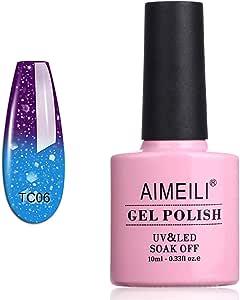 AIMEILI Soak Off UV LED Temperature Colour Changing Chameleon Gel Nail Polish - Glitter Purple to Glitter Blue Full Shimmer/Diamond (TC06) 10ML