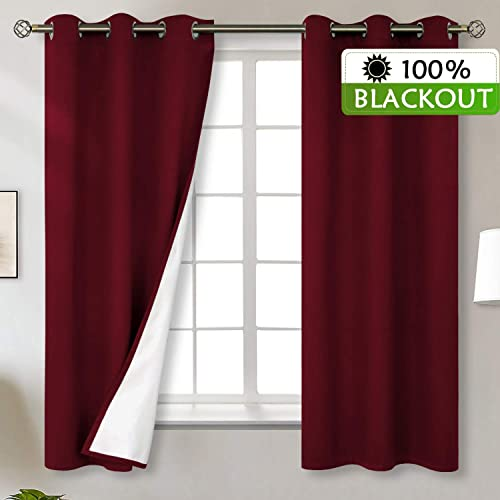 BGment Total Blackout Curtains with Coated Lining, Grommets Thermal Insulated Room Darkening Curtain for Bedroom and Living Room, 38 x 63 Inch, 2 Panels, Dark Red