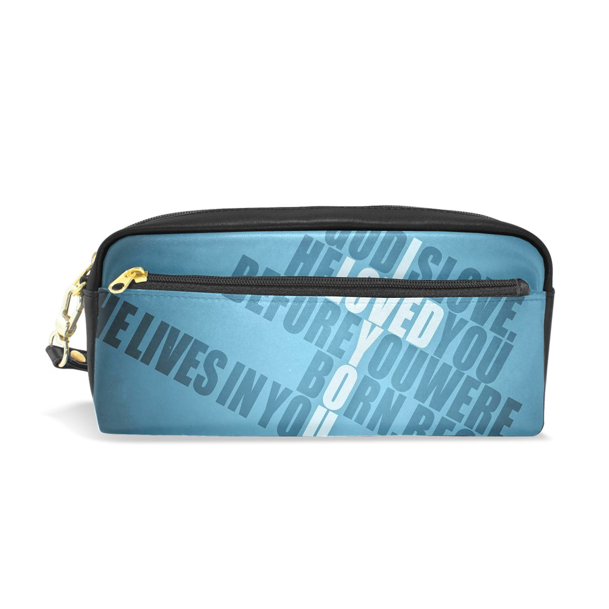 Pencil Case HMBROTHERS Stylish Art Print Christian Pattern Large Capacity Pen Bag Makeup Pouch Durable Students Stationery Two Pockets With Double Zipper by HMBROTHERS