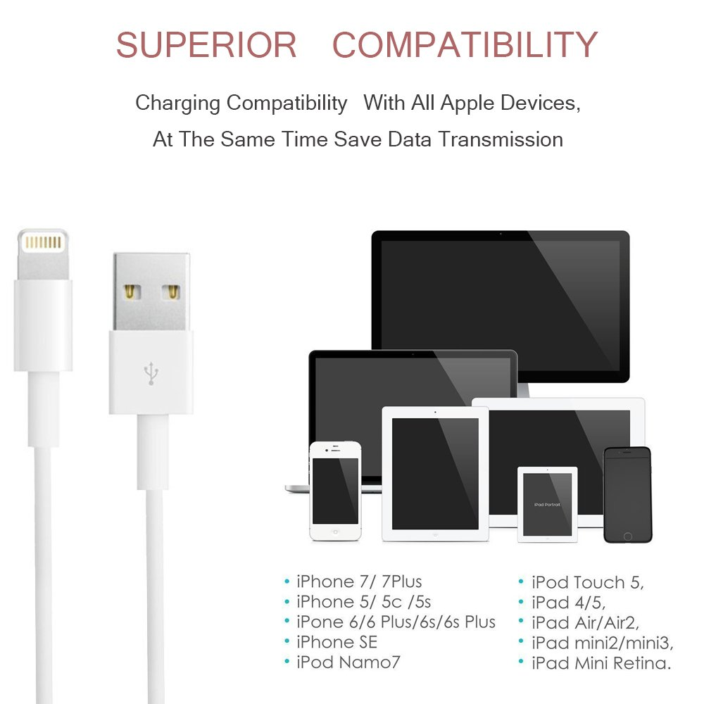 Phone Charger, Travel Wall Power Adapter Charger Cable, [2-Pack] USB Data Charge Sync Cable Compatible with iPhone X/8/7/6S/6/Plus/SE/5S/5C/XS/XR/XS Max, iPod, iPad by DelTucci (Image #5)