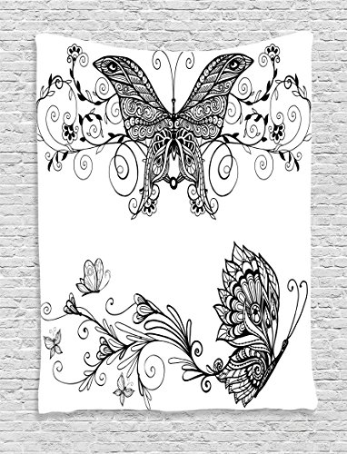 House Decor Tapestry Wall Hanging by Ambesonne, Butterfly with Floral Mandala Patterns Bohemian Decorations Butterfly Wings Picture, Bedroom Living Room Dorm Decor, 40 W x 60 L Inches, Black White