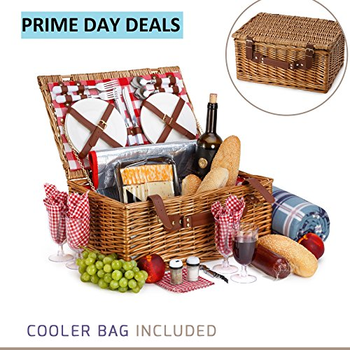 - 29 Piece Kit Includes Wicker Basket with Stainless Steel Flatware, Ceramic Plates, Glasses, Linen Napkins and Blanket and More - by Vysta ()