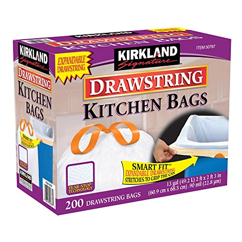 Kirkland Signature hsfuEFq Drawstring Kitchen Trash Bags - 13 Gallon, 200 Count (3 Pack)