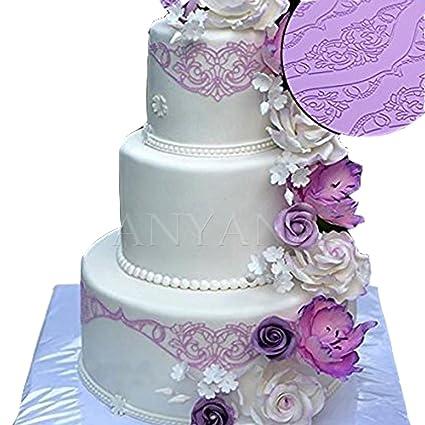 Amazon Com Huge Baking Fondant Sugar Lace Silicone Mat Wedding Cake