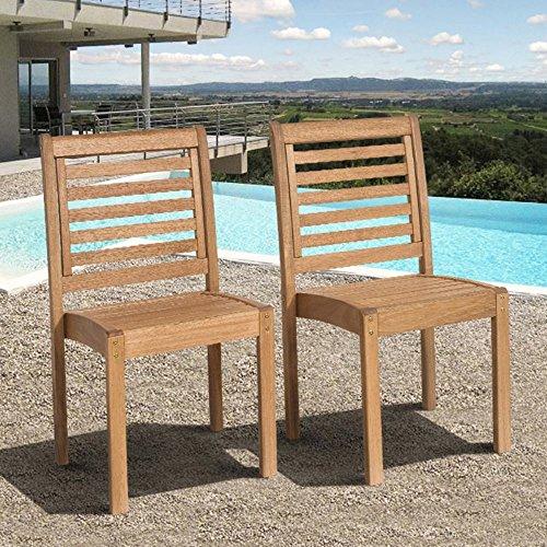 Amazonia Milano Eucalyptus Stackable Side Chair - Set of 2 - Milano Eucalyptus