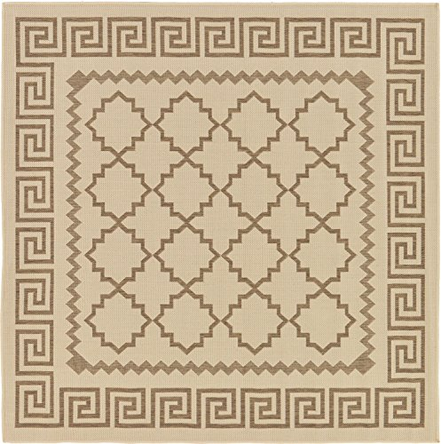 Unique Loom Outdoor Trellis Collection Greek Key Border Geometric Transitional Indoor and Outdoor Flatweave Beige  Square Rug (6' x 6') (Greek Outdoor Rug Key)