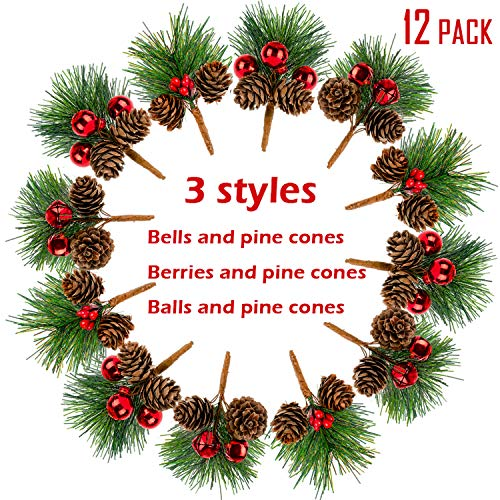 Whaline 12 Pack Pine Picks Artificial Pine Needles Red Berries Shatterproof Ball Ornaments Jingle Bells Pine Cones for Christmas Flower Arrangements and Holiday Decorations
