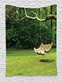 Ambesonne Country Home Decor Collection, Curved Swing Bench Hanging from the Bough of Tree in Lush Garden Woodland Backdrop, Bedroom Living Room Dorm Wall Hanging Tapestry, Olive Green Khaki