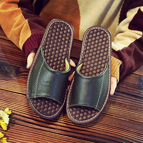 estate un 37~38 pavimento verde con nbsp;Pantofole antiscivolo uomini legno donna mute coppia in 26 cool soggiorno home pantofole Fankou T0EY1xq