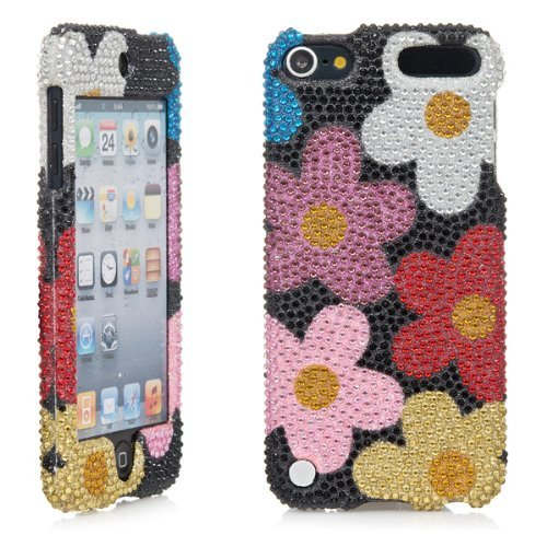 iPod Touch, 3D White Pearl Bling Rhinestone Crystal Jeweled Snap on Full Cover Case for Apple iPod Touch 6th Gen 5th Gen (Black Flower)