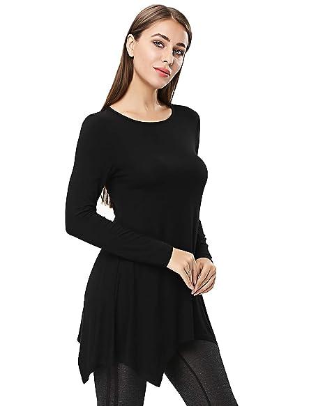 184c5a166a8 ENIMDIL Women Plus Size Long Sleeve Tunic Tops Loose Basic Shirt (M, Black)