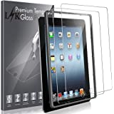 LK [2 Pack Screen Protector for iPad 2 / iPad 3 / iPad 4 Tempered Glass HD Clarity, Bubble Free, Anti Scratch, Case Friendly