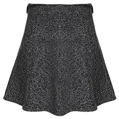 Zeagoo Women's High Waist A-line Flared Mini Skirt Winter Wool Skirts