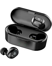 Dudios Zeus Ace TWS Earbuds, Bluetooth 5.0 Wireless Headphones Stereo in-Ear Mini Earphone (4Hrs Playtime with 800mah Rechargeable Case, Auto Pairing, One-Button Control) (Black)