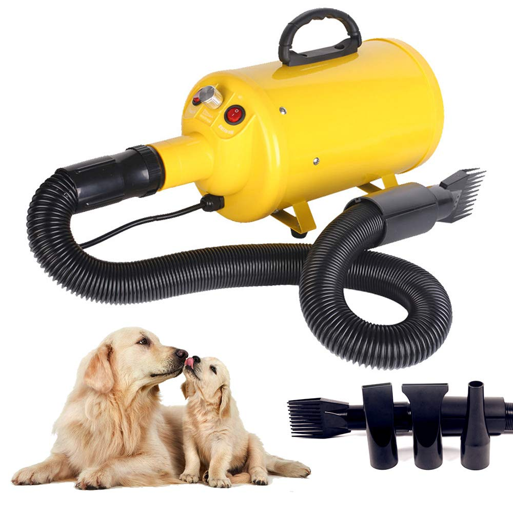 Scurrty Dog Hair Dryer Pet Grooming Blower Noise Reduction Adjustable Speed 3.2HP with Heater 4 Nozzles Yellow