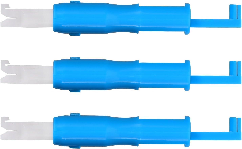 Hicarer 3 Piezas Insertor de Aguja de Costura Herramienta de Enhebrar Aguja Enhebrador de Aguja Automático para Máquina de Coser (Azul y Blanco)