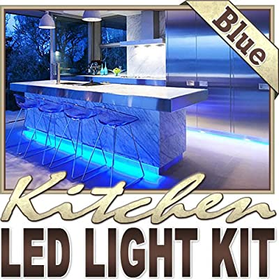 Biltek 6' ft Blue Kitchen Glass Cabinet Remote Controlled LED Strip Lighting SMD3528 Wall Plug - Under Counters Microwave Glass Cabinets Floor Waterproof Flexible DIY 110V-220V