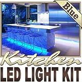 Biltek 3.3' ft Blue Kitchen Glass Cabinet Remote Controlled LED Strip Lighting SMD3528 Wall Plug - Under Counters Microwave Glass Cabinets Floor Waterproof Flexible DIY 110V-220V