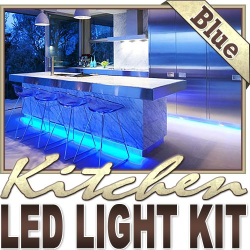 Matte Sconce Blue (Biltek 16.4' ft Blue Kitchen Glass Cabinet Remote Controlled LED Strip Lighting SMD3528 Wall Plug - Under Counters Microwave Glass Cabinets Floor Waterproof Flexible DIY 110V-220V)