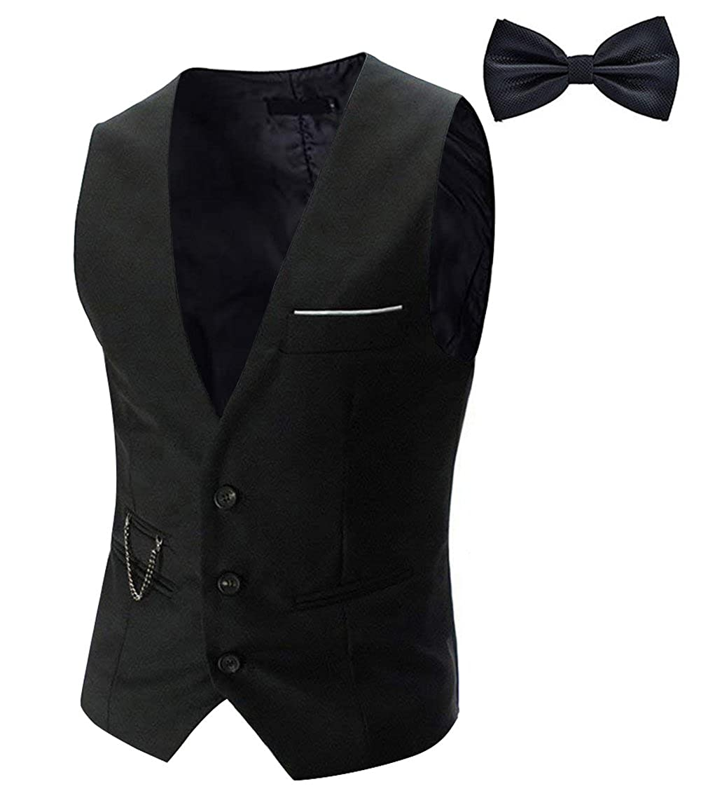 1920s Style Mens Vests Tueenhuge Mens Top Designed Tuxedo Blazer Suit Vest Waistcoat with Bow Tie $18.99 AT vintagedancer.com