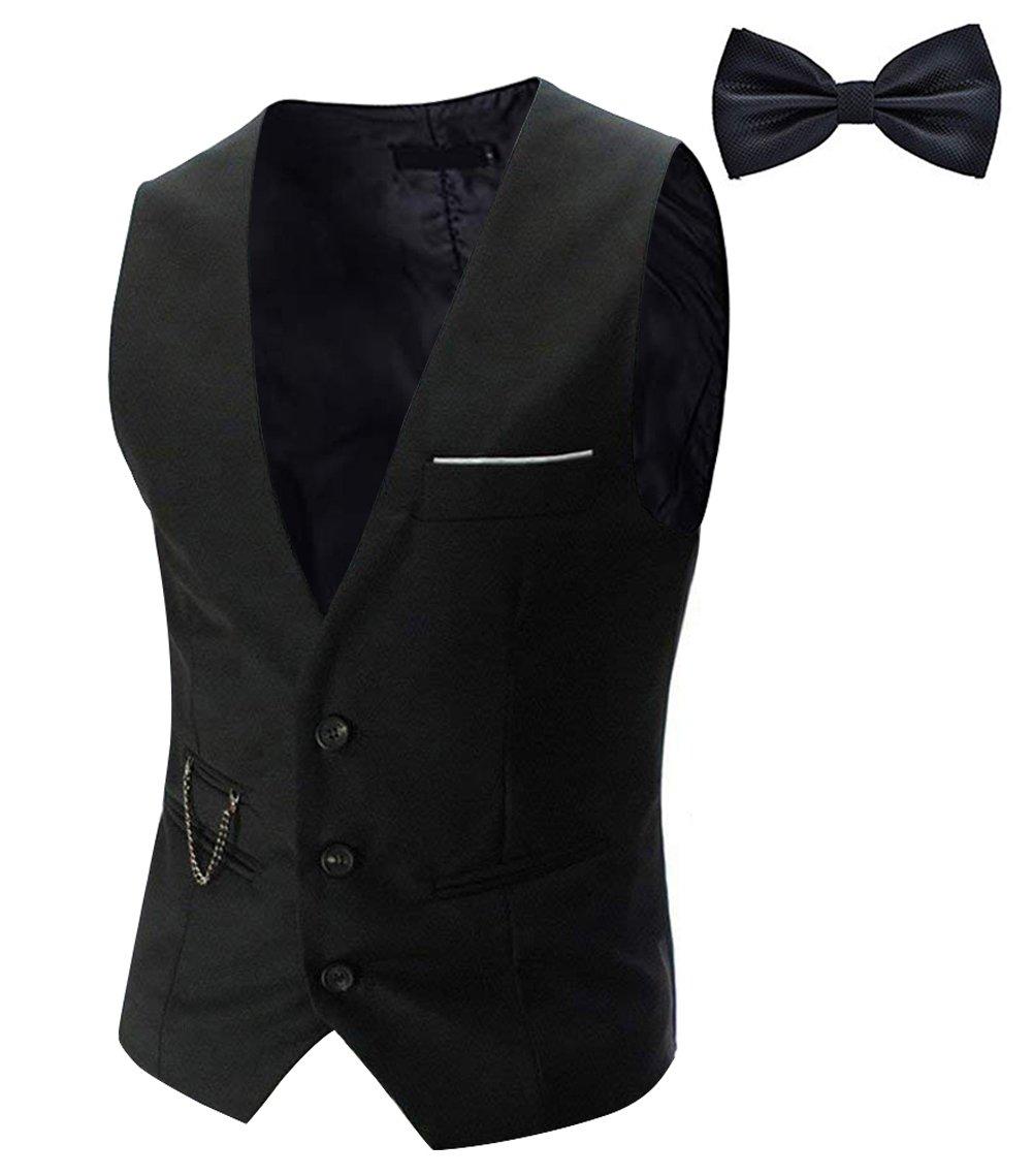 Tueenhuge Men's Top Designed Tuxedo Blazer Suit Vest Waistcoat with Bow Tie